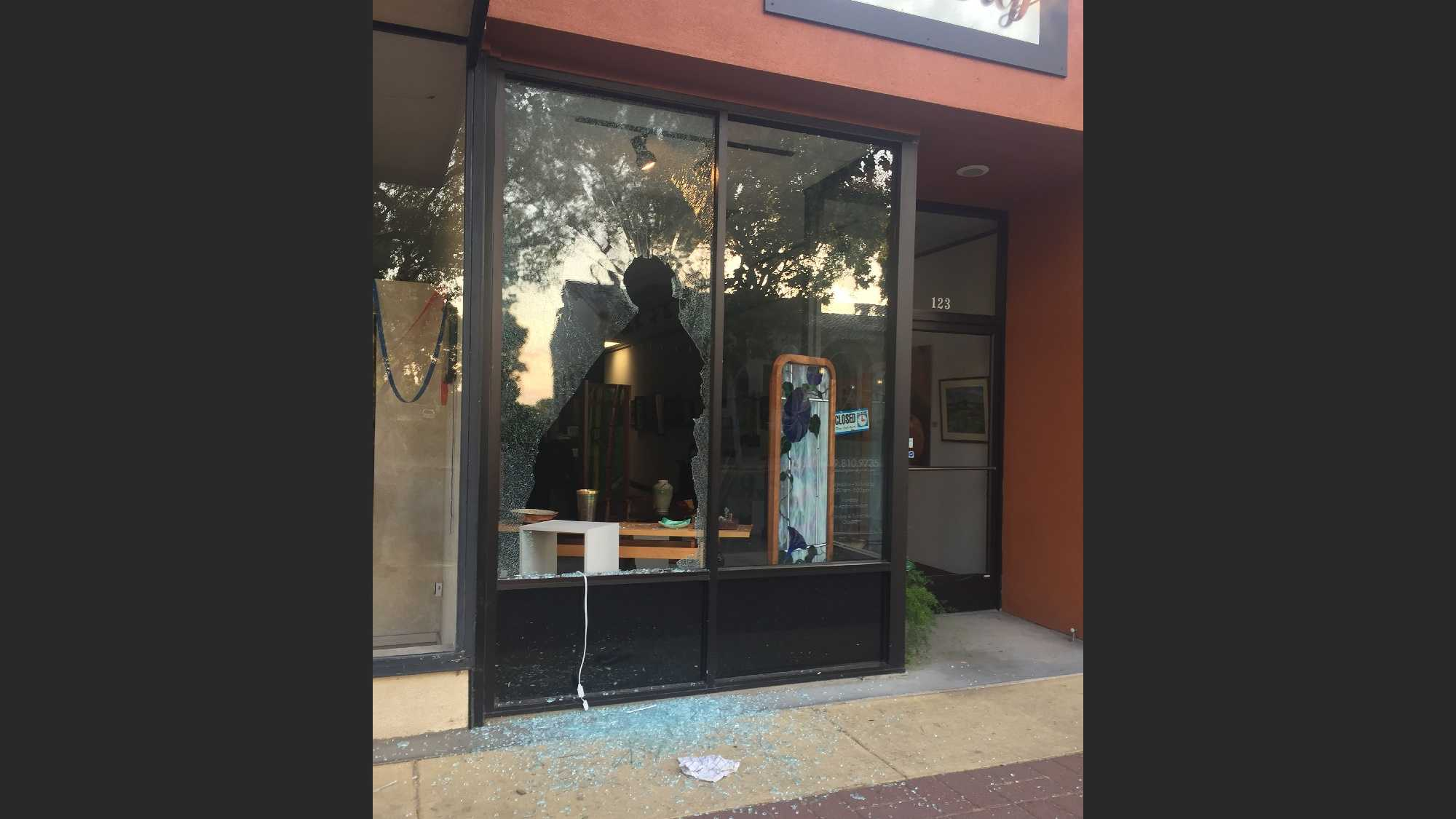 Damages done to a Lodi gallery by thieves.
