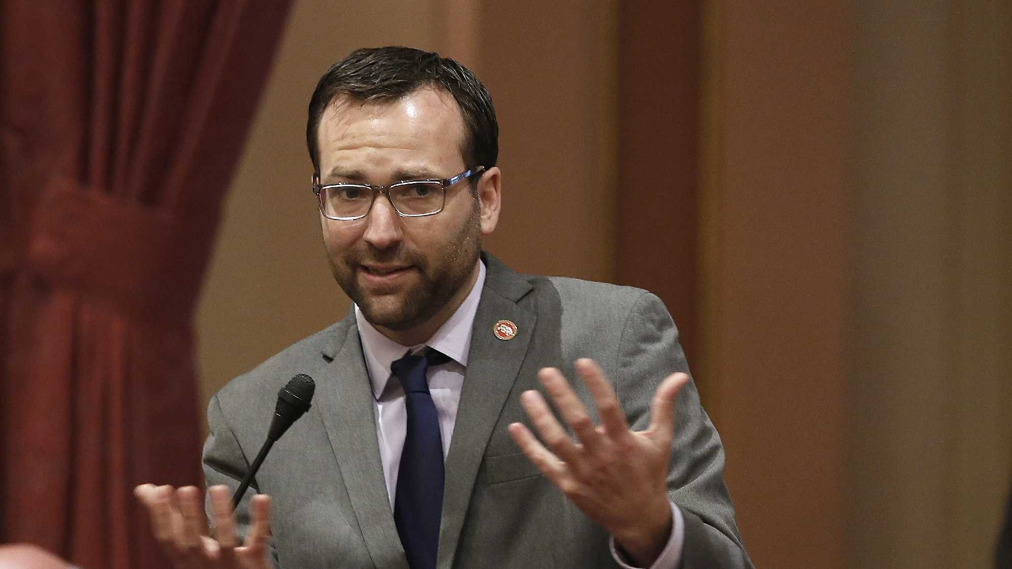 State Sen. Ben Allen, D-Santa Monica, urges passage of his emergency legislation that would allow a man with HIV to receive part of his HIV-positive husband's liver.