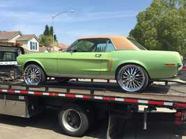 A 1968 Ford Mustang seized in the 1100 block of Klemeyer Circle.