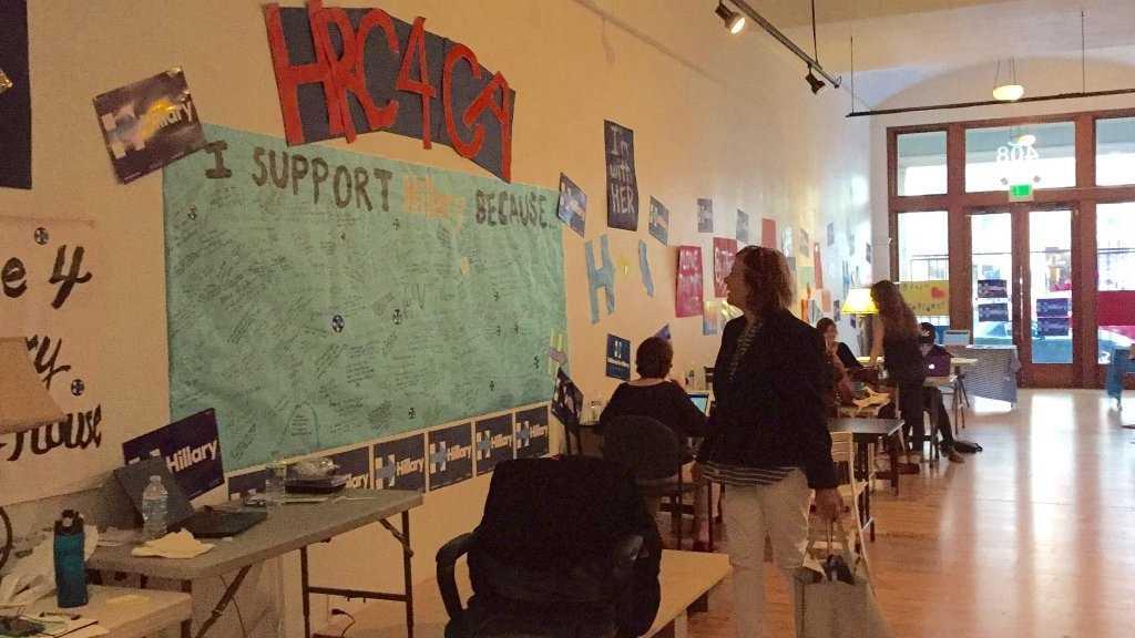 Hillary Clinton's California campaign headquarters in Oakland, California, prepares for the primary election.