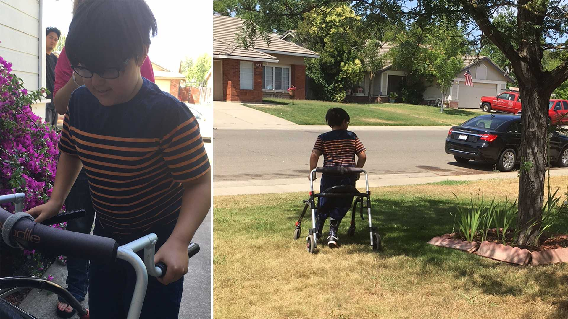 Aiden Sanabria, 11, is reunited with his walker on Friday, June 3, 2016. It was taken Wednesday night and was returned Friday. Aiden said he uses it to manage his cerebral palsy.