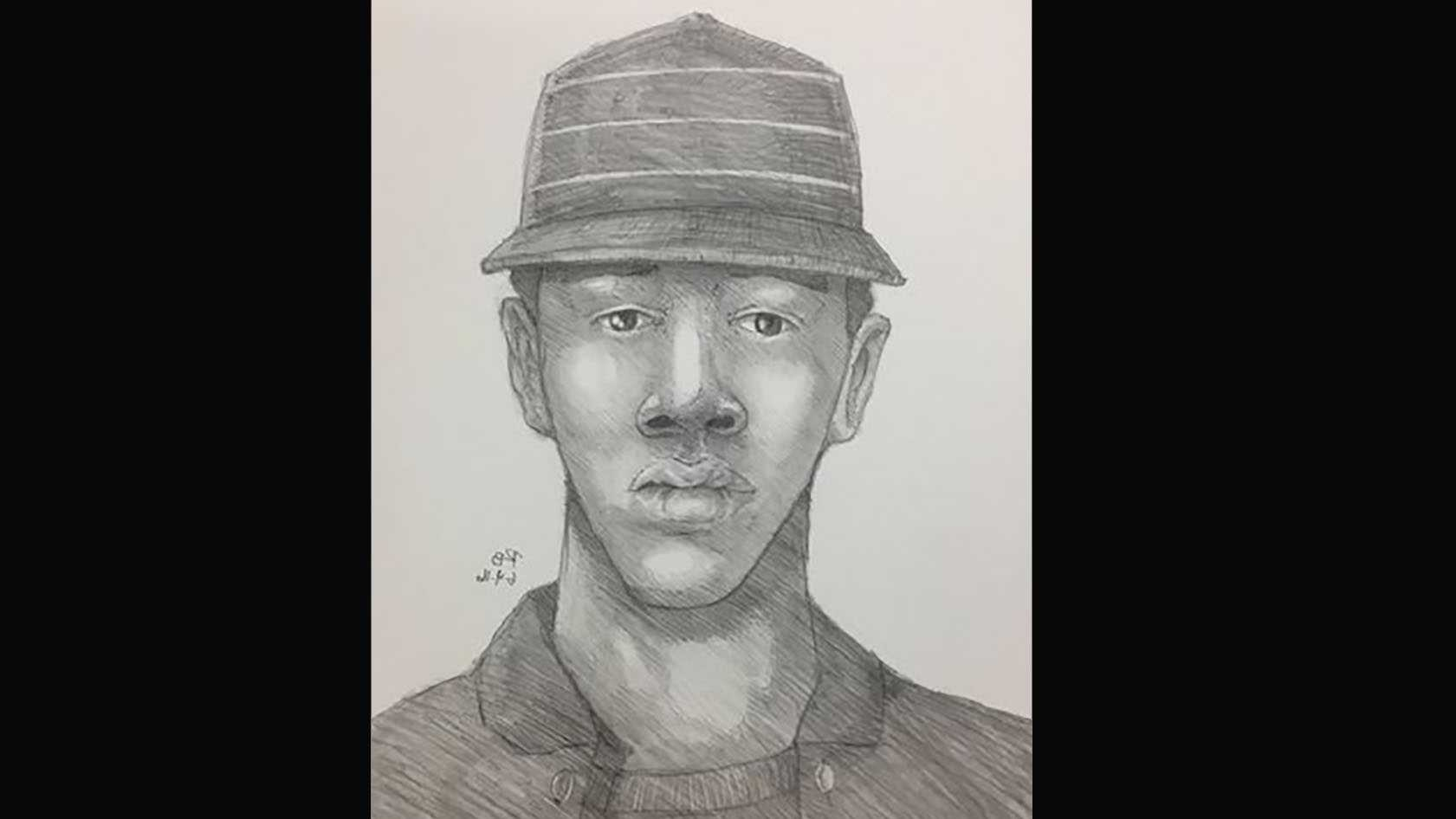 Sketch of man accused of sexually assaulting and robbing a woman in a Sacramento apartment complex Saturday.