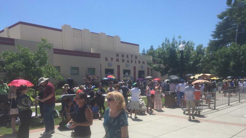 Hundreds gathered outside Sacramento City College Gym to see Hillary Clinton Sunday afternoon.