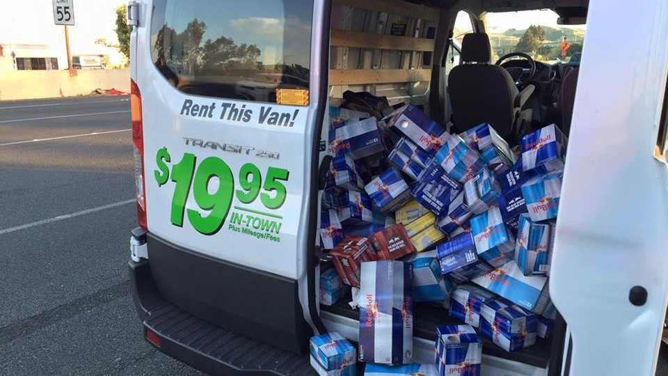 Photo of van with stolen Red Bull energy drinks.