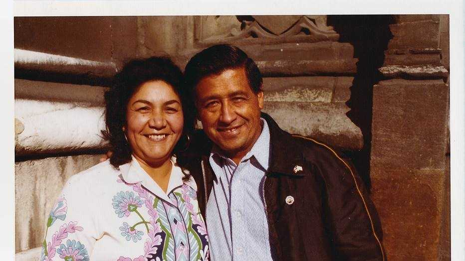 Helen Chavez with her husband Cesar Chavez