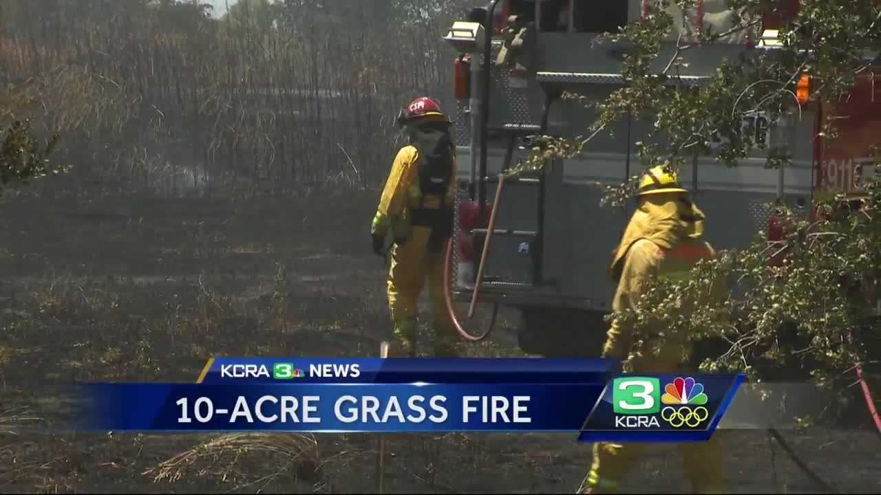 Grass fire at Calvine Road and Franklin Boulevard kept firefighters busy Saturday afternoon.