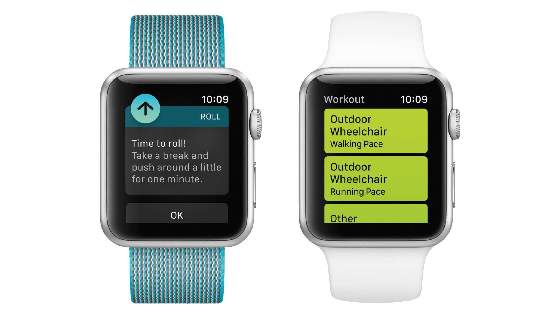This undated photo provided by Apple shows a demonstration of fitness tracking available to wheelchair users with an upcoming Apple Watch update. Adaptations include prompts to push the wheelchair around instead of standing breaks and the tracking of wheelchair workouts alongside running and cycling.