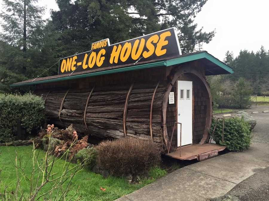 """The One-Log House was created out of a single redwood tree and actually has beds, a kitchen, a desk and a couch inside! You have to see for yourself.""--Dana Griffin, reporter"