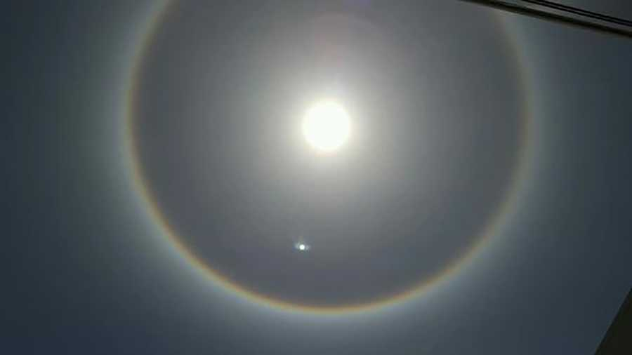 Viewers shared amazing photos of sun halos and rainbow clouds with KCRA Tuesday. The halo is created by ice crystals in cirrus clouds moving overhead. At the same time, sun rays passing through the crystals create a circumhorizon arc, which looks like a rainbow in the clouds.