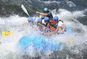 """Raft down the American River. You can't really see them, but my husband and nephew are getting soaked in this shot.""--Edie Lambert, anchor"