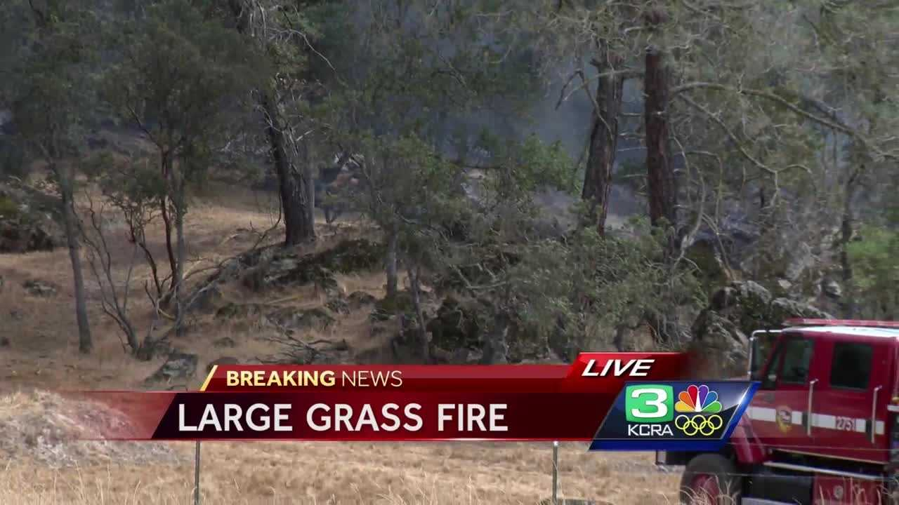 Fire crews are battling a 225-acre grass fire in Calaveras County, Cal Fire said.