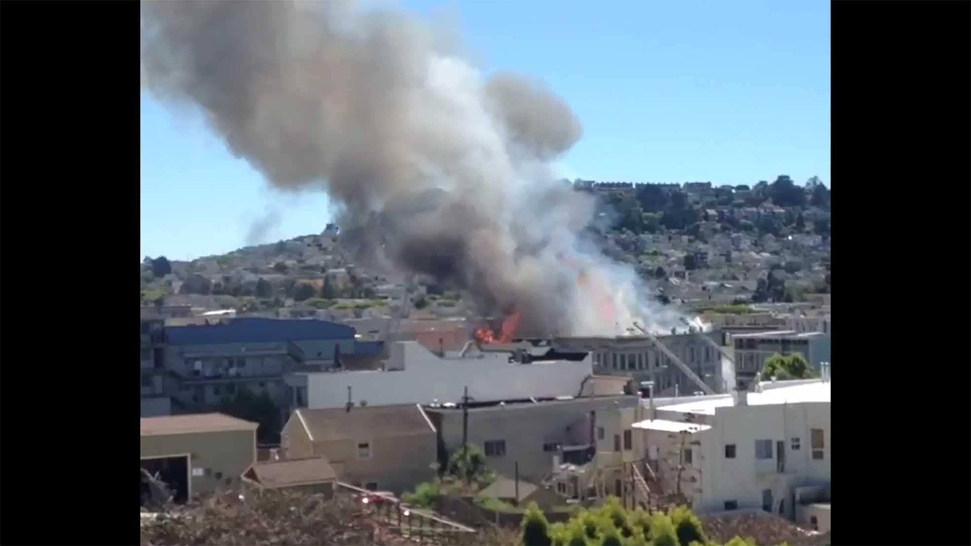 A five-alarm fire broke out in San Francisco's Bernal Heights neighborhood Saturday afternoon, officials said.
