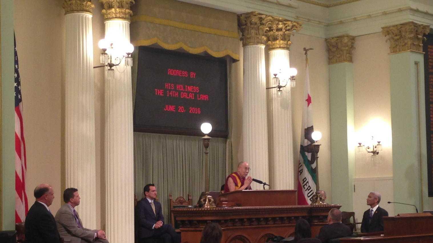 The Dalai Lama speaks to the California legislature Monday.