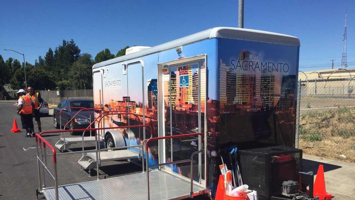 Sacramento opens new attended public restroom for homeless as part of pilot program.
