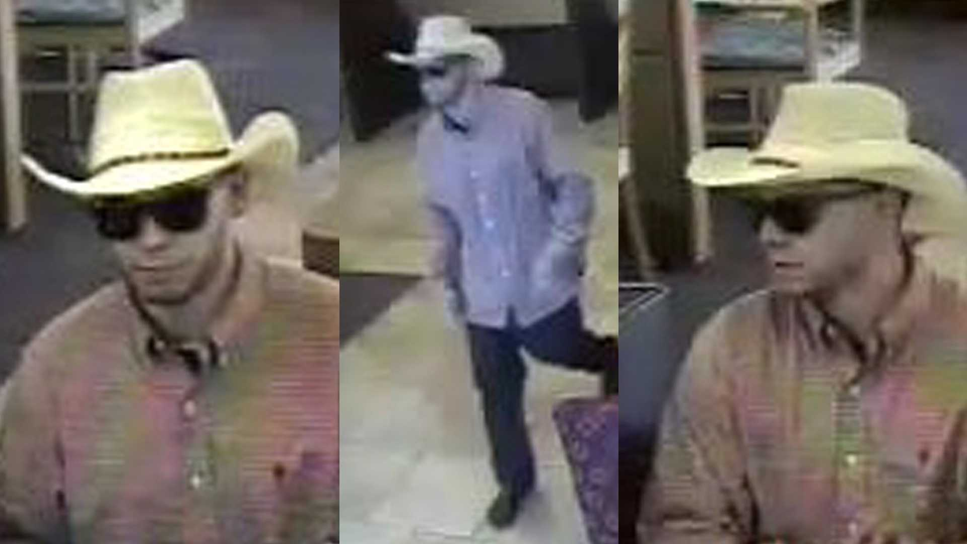 Roseville police are looking for a man who robbed a Wells Fargo Bank while wearing a cowboy hat.