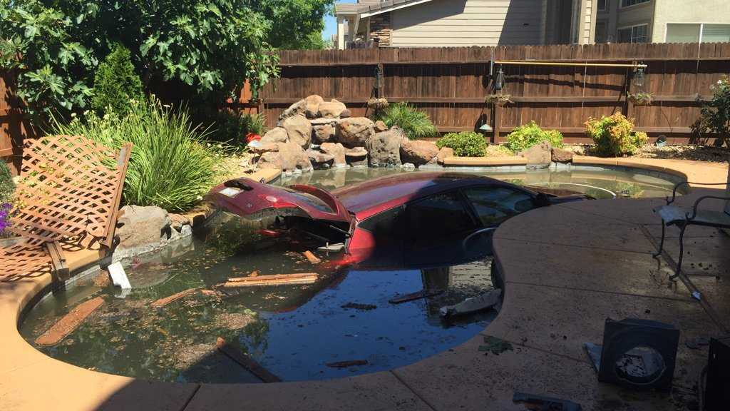 A vehicle crash into a pool at an Elk Grove home on Wednesday, June 22, 2016, the Elk Grove Police Department said.
