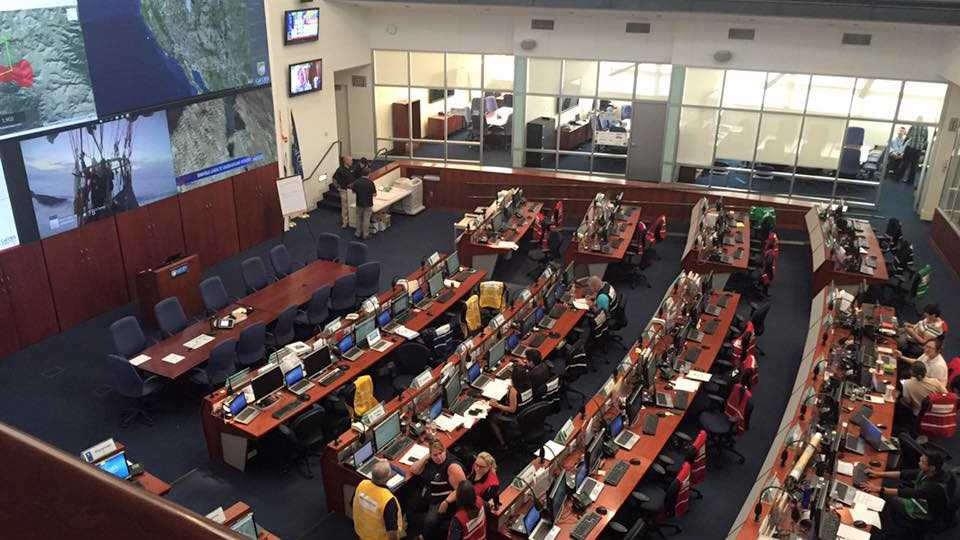 More than two dozen people work in the California Emergency Operations Center.