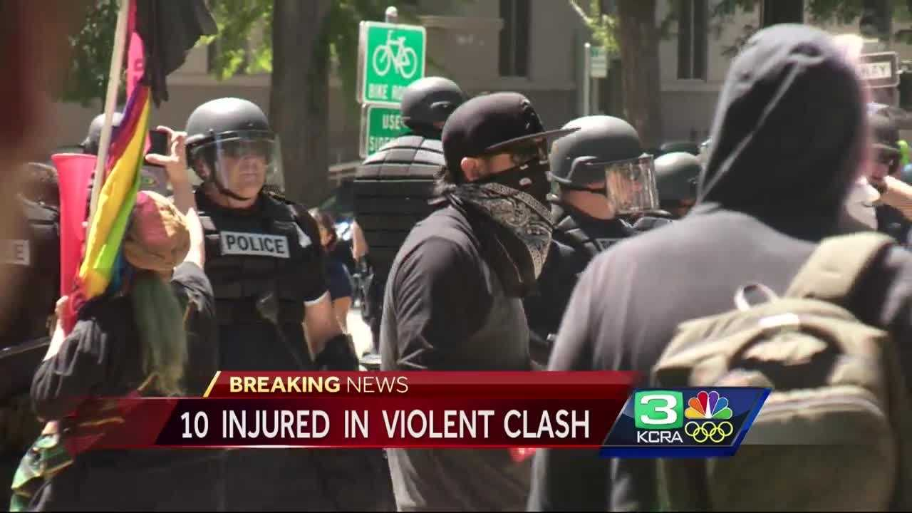 At least 10 people were injured in a violent demonstration Sunday at the State Capitol.