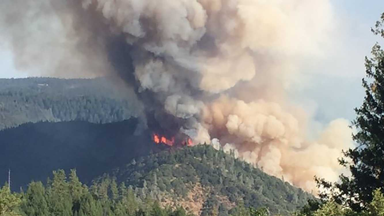 Wildfire burns near Foresthill, outside Todd Valley. The blaze ignited Tuesday, June 28, 2016.