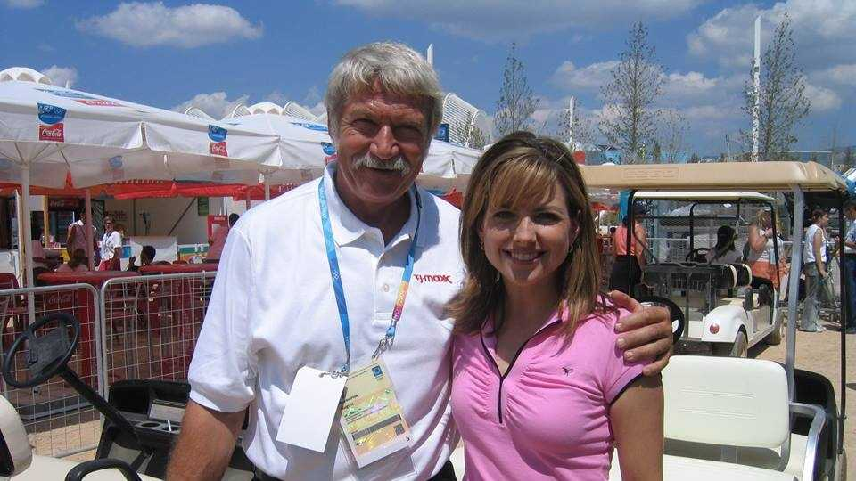 Bela Karolyi and Deirdre Fitzpatrick at the 2004 Athens Summer Olympics