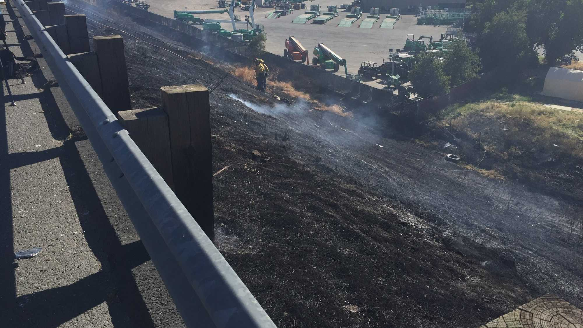 Several grass fires were deliberately set along Instate 80 on Monday, July 4, 2016, the West Sacramento Fire Department said.