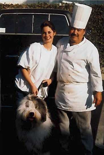 18.) My first job was as a hostess at a restaurant called Jon's Coffee Shop in Huntington Beach. I was 15 when I started. A year later I became a waitress and worked there until I was 21. This is a picture of me and the head chef Tino with my parents' dog Parker.