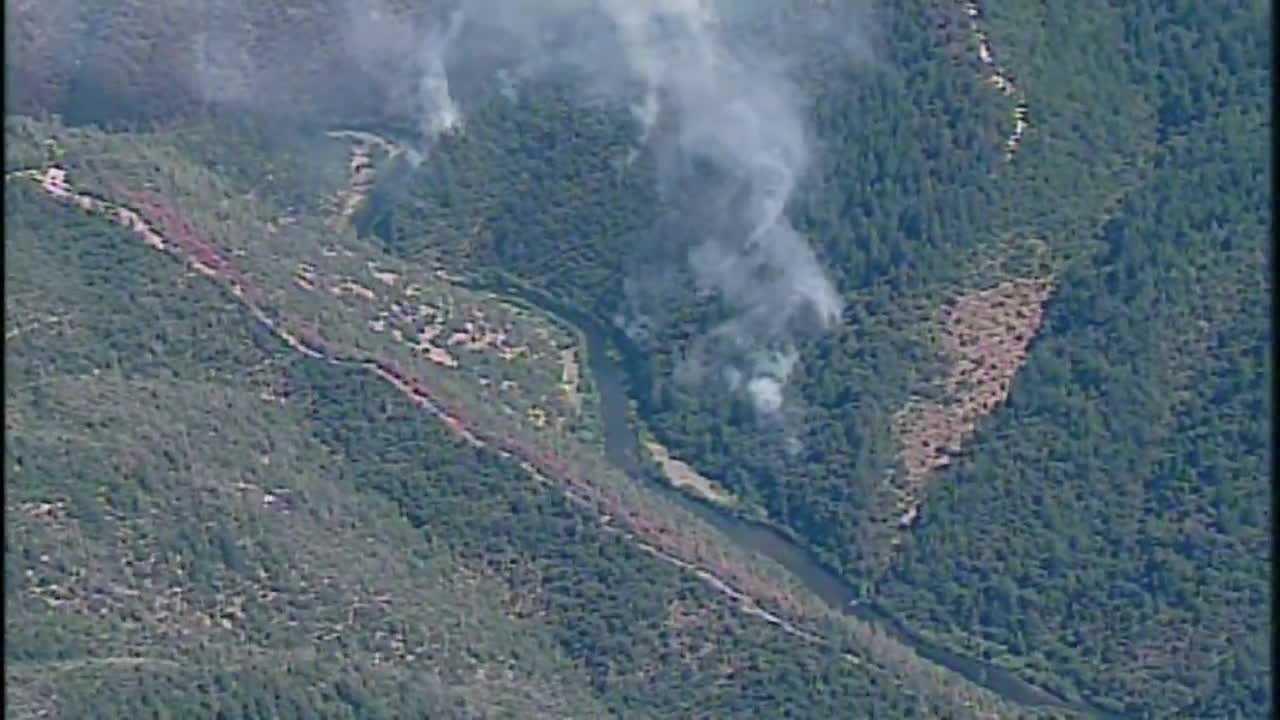 Aerial photo of Trailhead Fire in El Dorado County.