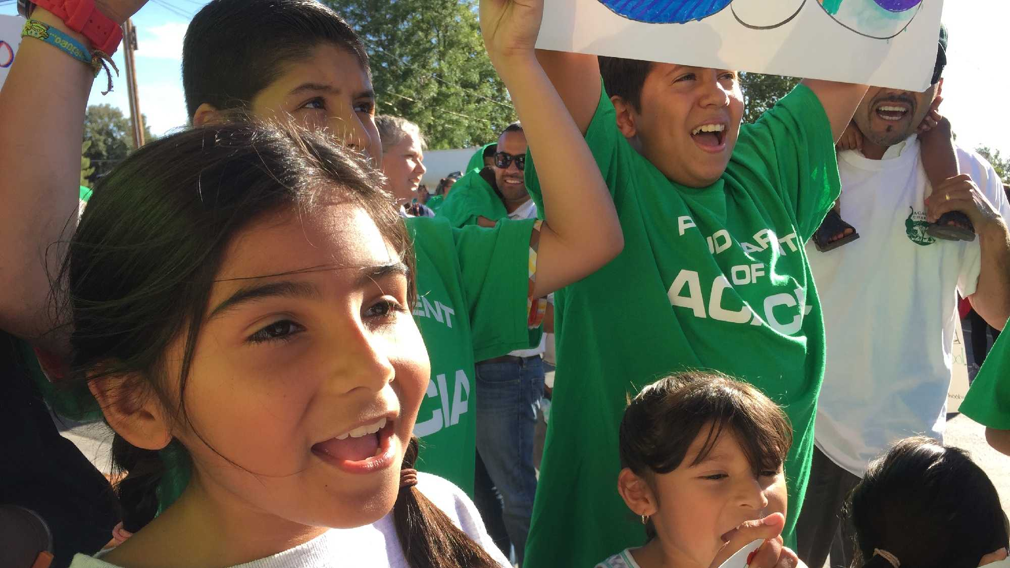 Students and parents protest the closure of two Stockton schools on Thursday, July 7, 2016.
