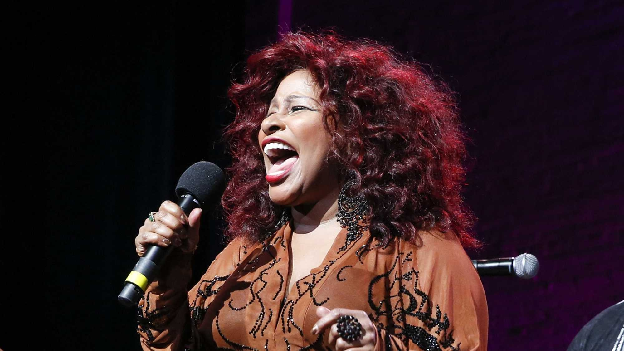 "In this Oct. 24, 2014, file photo, Chaka Khan performs at the 13th annual ""A Great Night in Harlem"" gala concert in New York. Chaka Khan and her sister have both entered a drug rehabilitation program to battle their addiction to prescription drugs. In a statement released, Sunday, July 10, 2016, Khan said she has been battling with an addiction to he same medication that led to Prince's death last April."