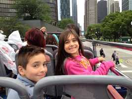 21.) My husband and I have two children, Cole and Macy. They keep us busy and always have us laughing. This picture was taken in 2015 while on a double-decker bus tour through Chicago.