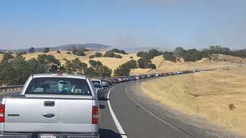 Here is another shot of the fire near Copperopolis, dubbed the Stagecoach Fire, from traffic.