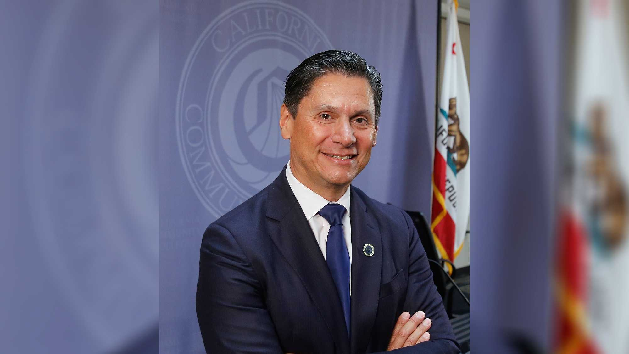 Eloy Ortiz Oakley poses for a photo after he was named chancellor of the California Community Colleges on Monday, July 18, 2016, in Sacramento, Calif. Oakley, the superintendent-president of the Long Beach Community College District, and a University of California regent, is the first Latino to head the 113-community college system.