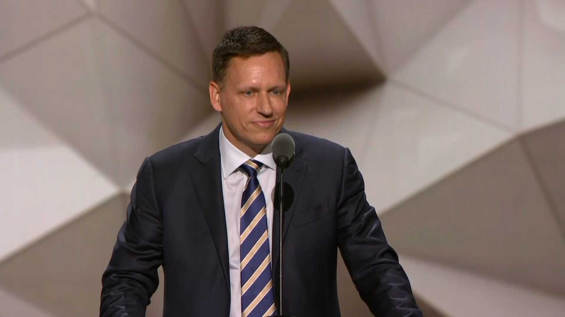 Peter Thiel speaks at the Republican National Convention on Thursday, July 21, 2016.