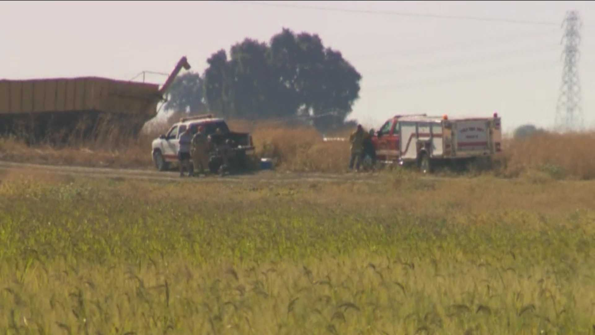 Emergency crews were at the scene of the crop duster crash in Yolo County on Saturday, July 23, 2016.