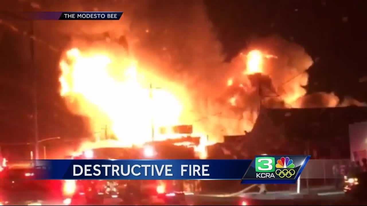 Video from the Modesto Bee shows a destructive weekend fire in Modesto.