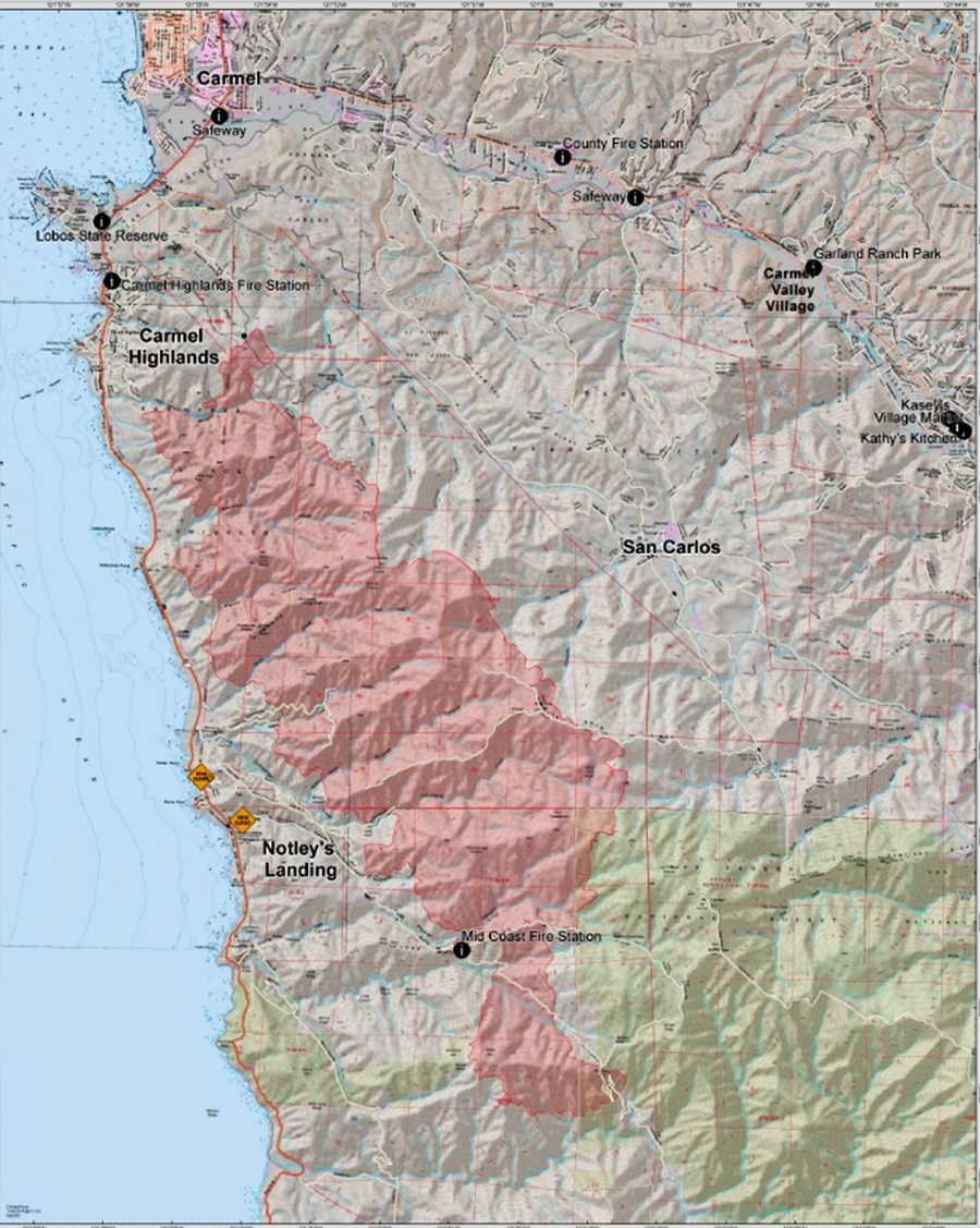 MAP: July 26, 2016Areas burned by the Soberanes Fire are marked in red.
