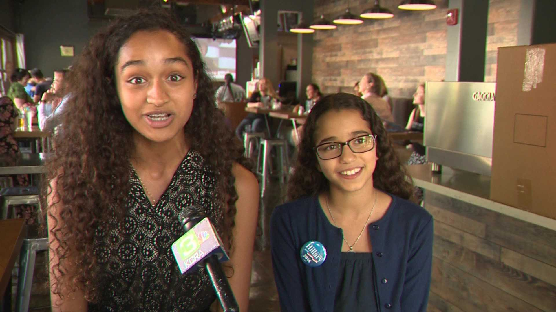 Sisters 15-year-old Naysak and 12-year-old Nasma Wali-Ali attended a watch party Thursday, July 28, 2016, to see Hillary Clinton accept the Democratic presidential nomination.
