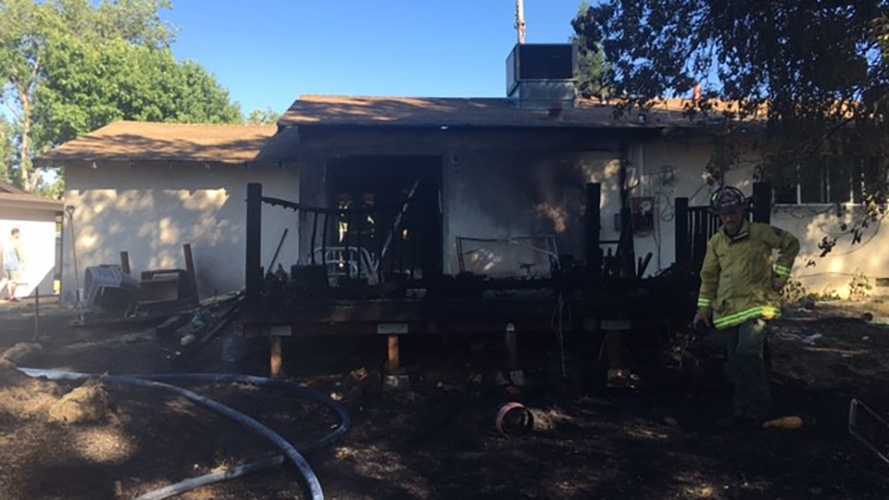 Photo of fire damages to home.