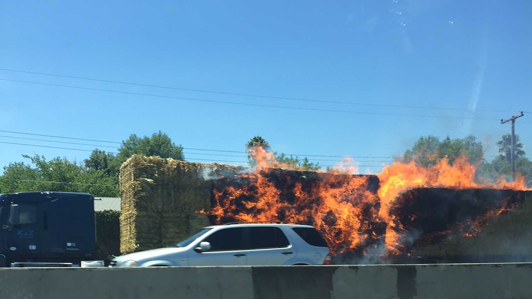Hay truck fire on southbound Highway 99