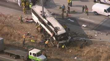 Northbound Highway 99 in Merced County is shut down Tuesday morning after a charter bus crash killed four people, according to the California Highway Patrol.
