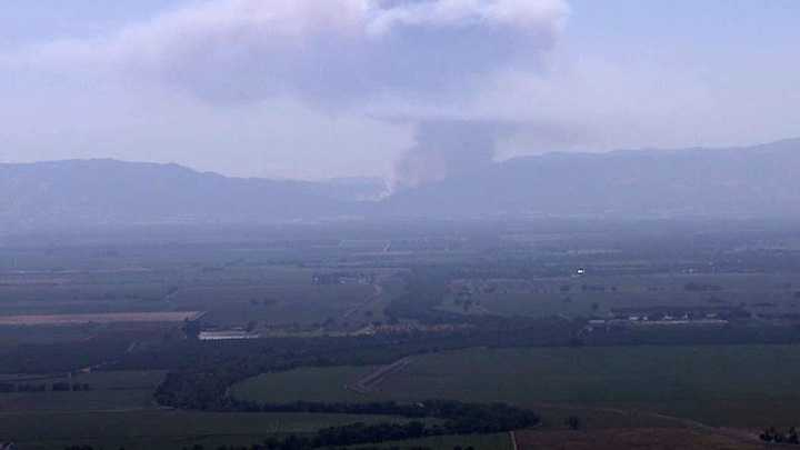 Fire near Putah Creek and Monticello Dam seen from KCRA Tower Cam.