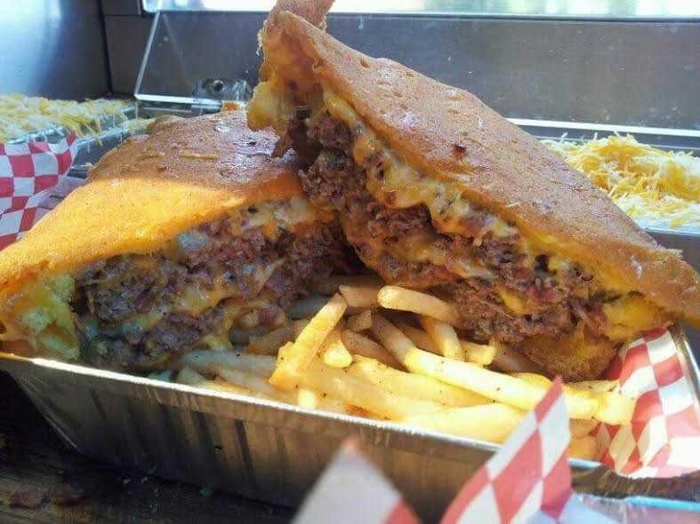 All American Sammie: For all of you bacon lovers, this Jack Back Sammie from Bacon Mania is loaded with a half-pound of hand pressed bacon, an Angus beef patty and melted cheese to top the sandwich off.
