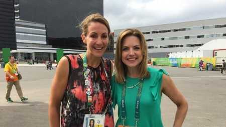Olympian Summer Sanders and Deirdre Fitzpatrick at the Rio Olympics