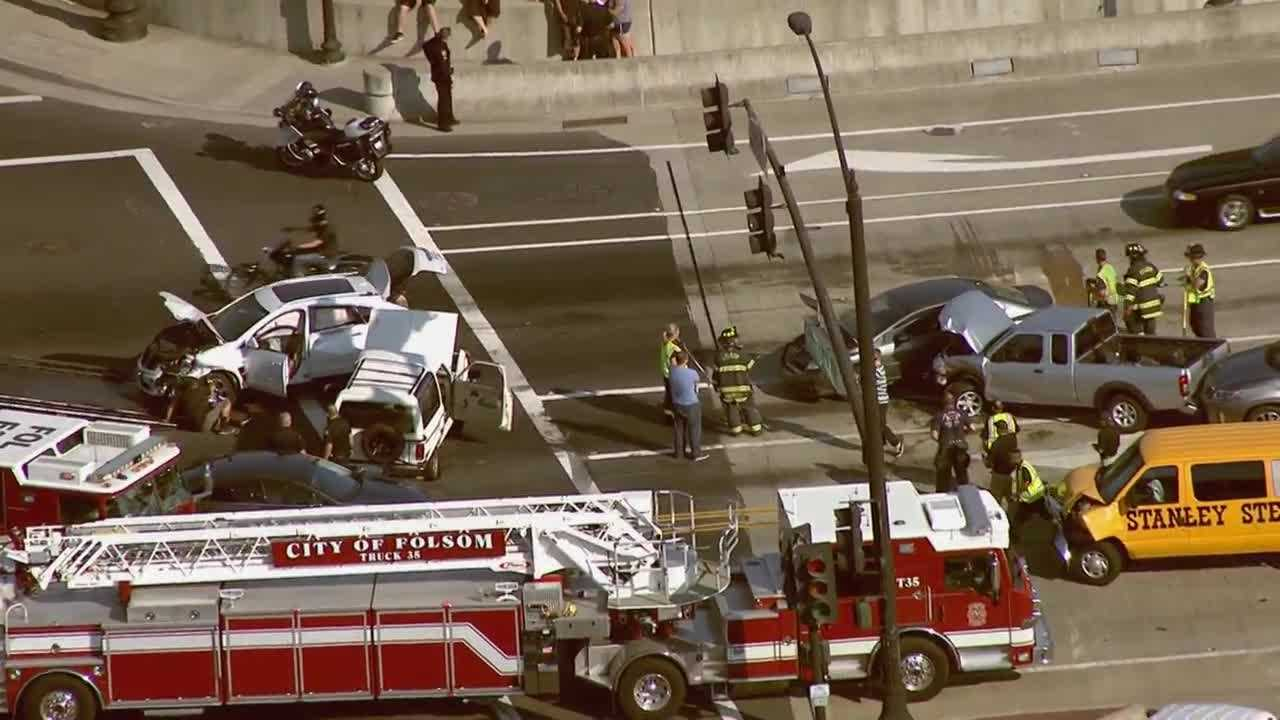 A multi-vehicle crash shut down a busy Folsom intersection on Thursday, Aug. 11, 2016.