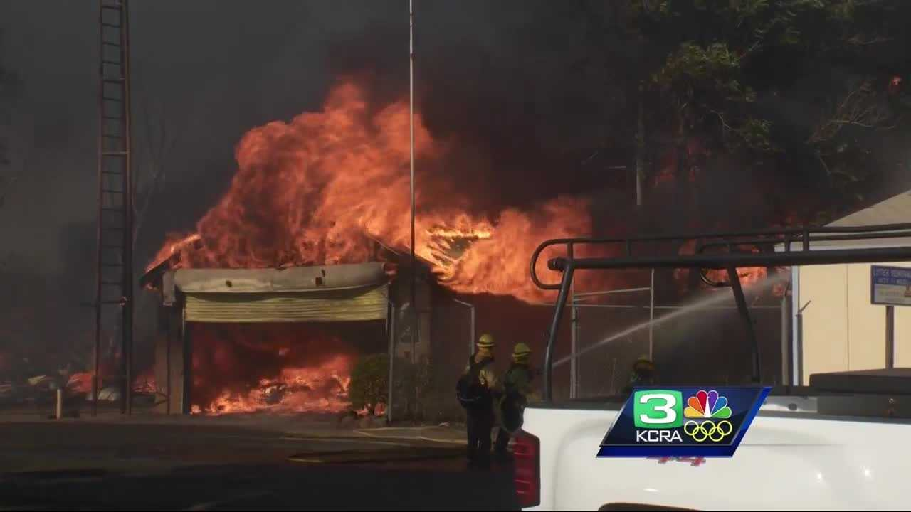 At least 10 homes were destroyed by the Clayton Fire burning near Lower Lake.