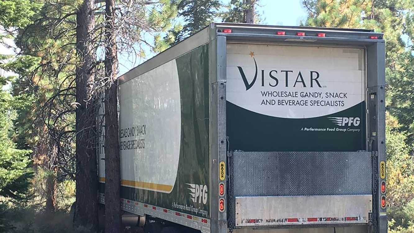 A truck got stuck between two trees when the driver followed his GPS down a side road not intended for big rigs, the El Dorado County Sheriff's Office said Tuesday, Aug. 16, 2016.