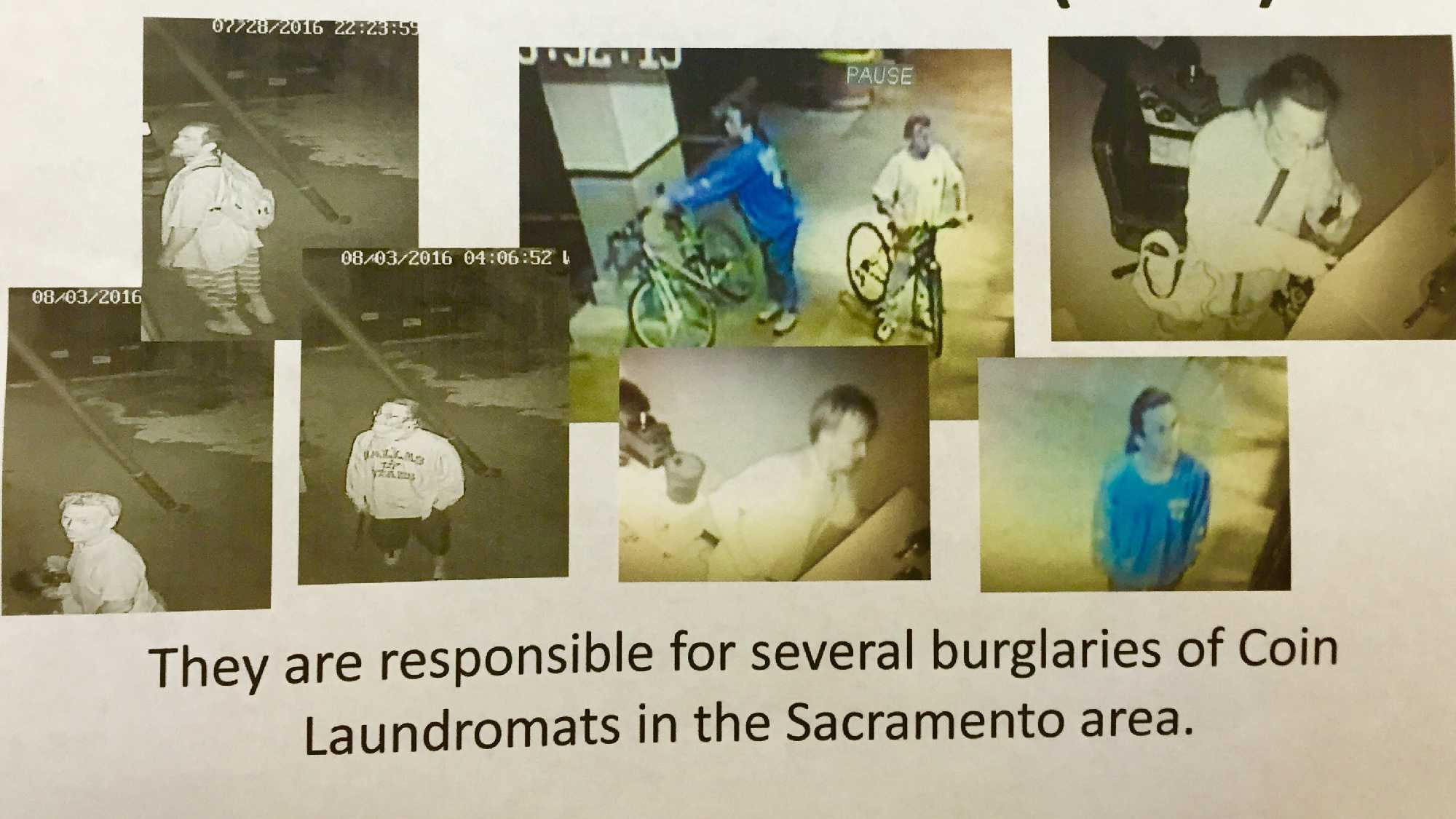 A reward flier shows surveillance photos of several burglary suspects wanted in connection to Sacramento-area laundromat break-ins.