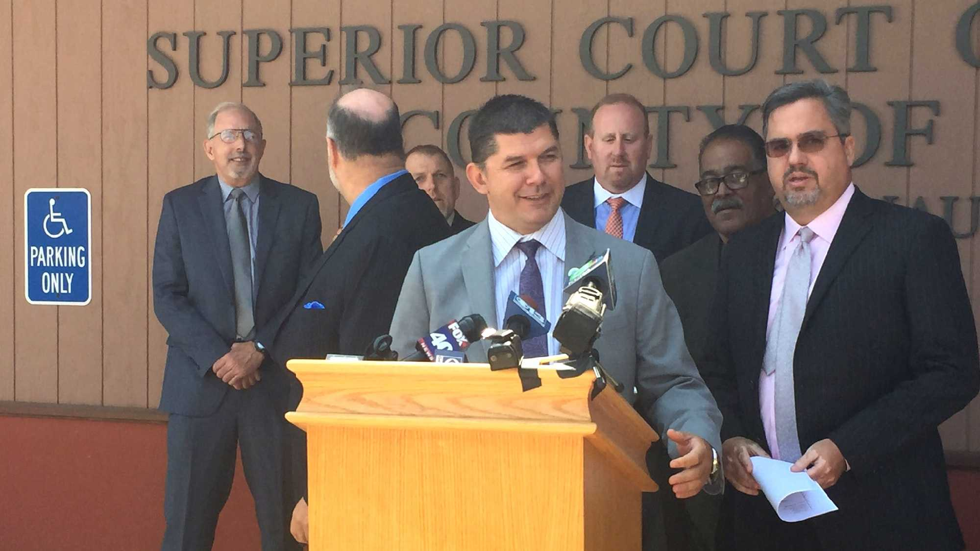 Stockton Mayor Anthony Silva talks outside Amador County Superior Court on Thursday, Aug. 18, 2016.