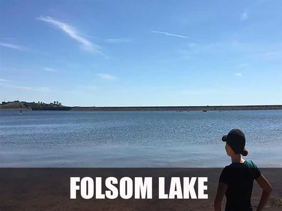 The Folsom Lake reservoir is formed by the Folsom Dam, built in 1955 to control and retain the American River. (Source: https://en.wikipedia.org/wiki/Folsom_Lake)