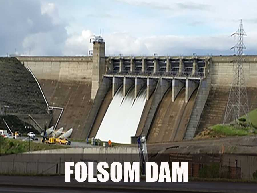 The dam and its reservoir, Folsom Lake, provides flood control, hydroelectricity, and irrigation and municipal water supply. (Source: https://en.wikipedia.org/wiki/Folsom_Dam)